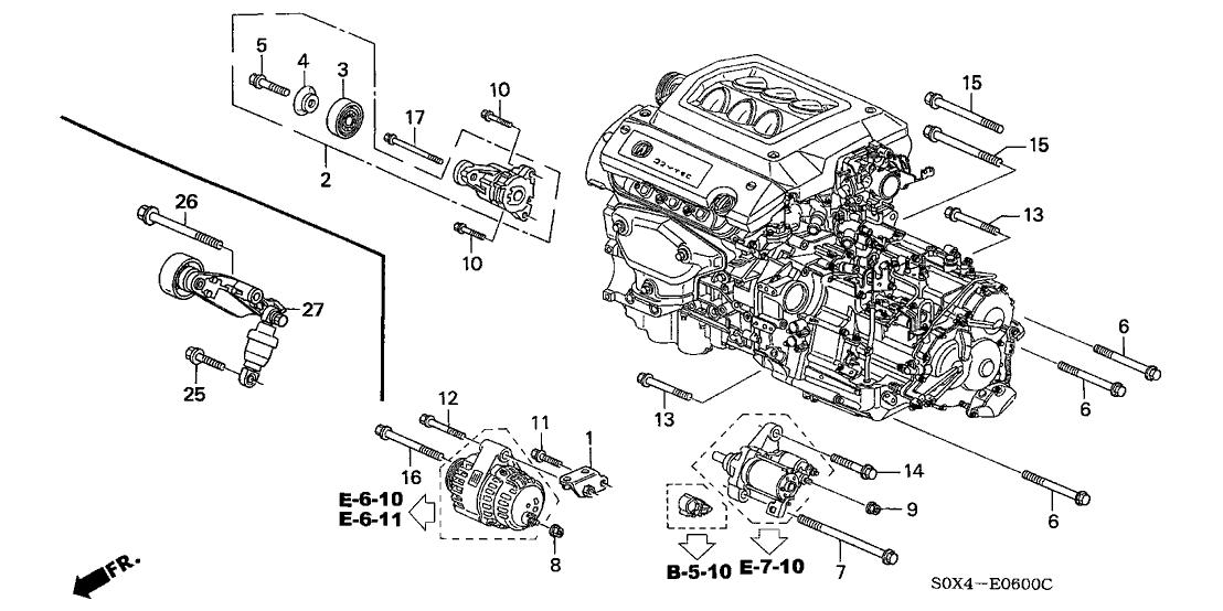 1999 Honda Odyssey 5 Door Ex Ka 4at Alternator Bracket