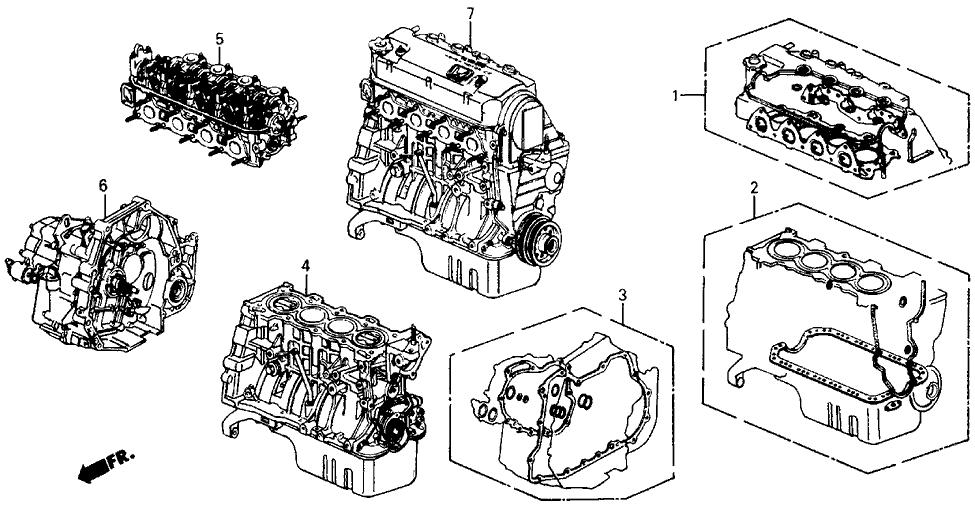 1989 honda civic 4 door dx kl 5mt gasket kit - engine assy  - transmission  assy