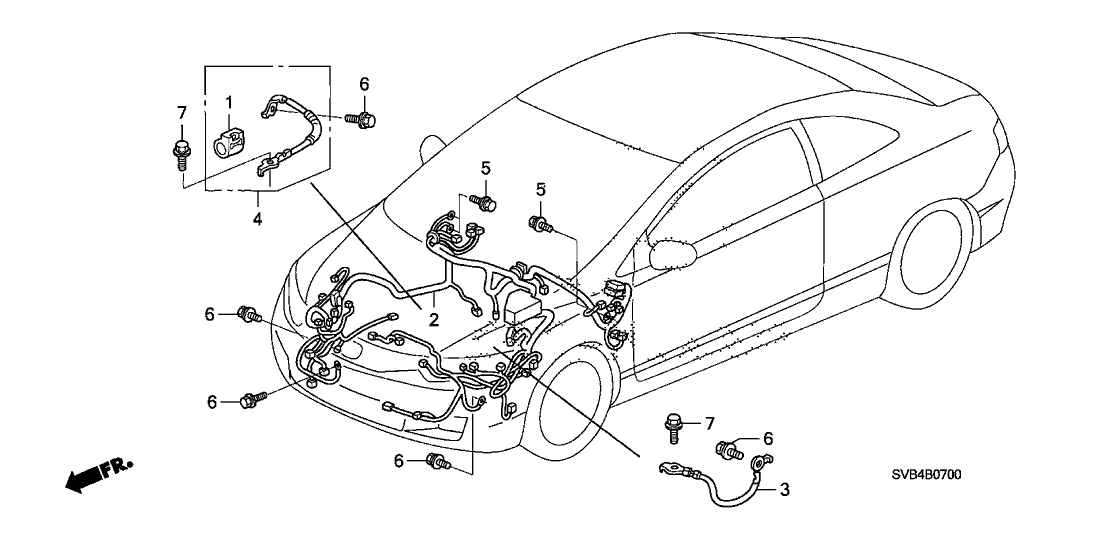 32200-SVB-A12 - Genuine Honda Wire Harness, Engine Room