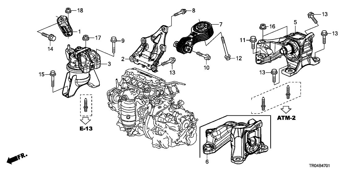 50820TR0A81  Genuine    Honda    Mounting  Engine Side  AT