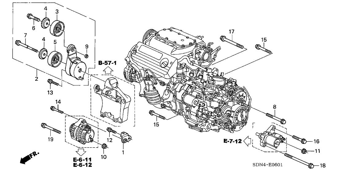 31190 rca a01 genuine honda pulley, idler2004 honda accord 2 door ex (v6 navigation) kl 5at alternator bracket (v6
