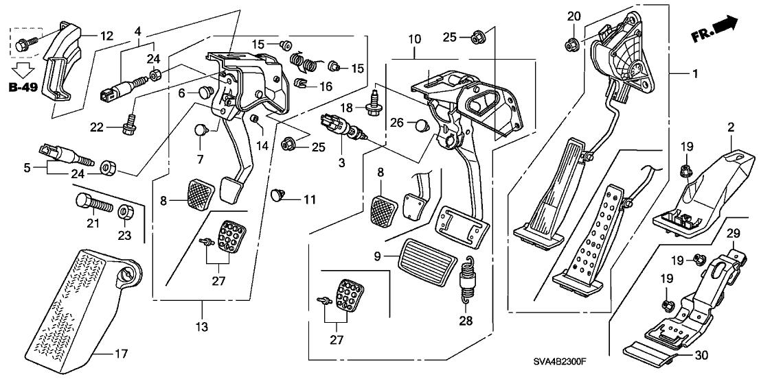 17800-SNA-A01 - Genuine Honda Pedal Assy., Accelerator