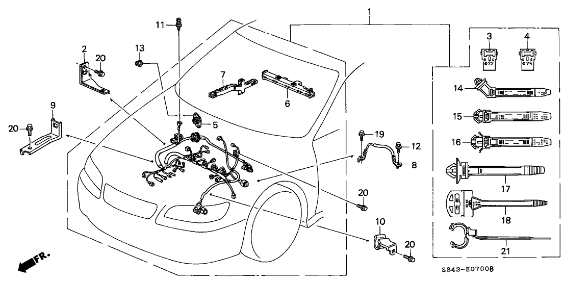 2001 Honda Accord 4 Door LX KA 5MT Engine Wire Harness on