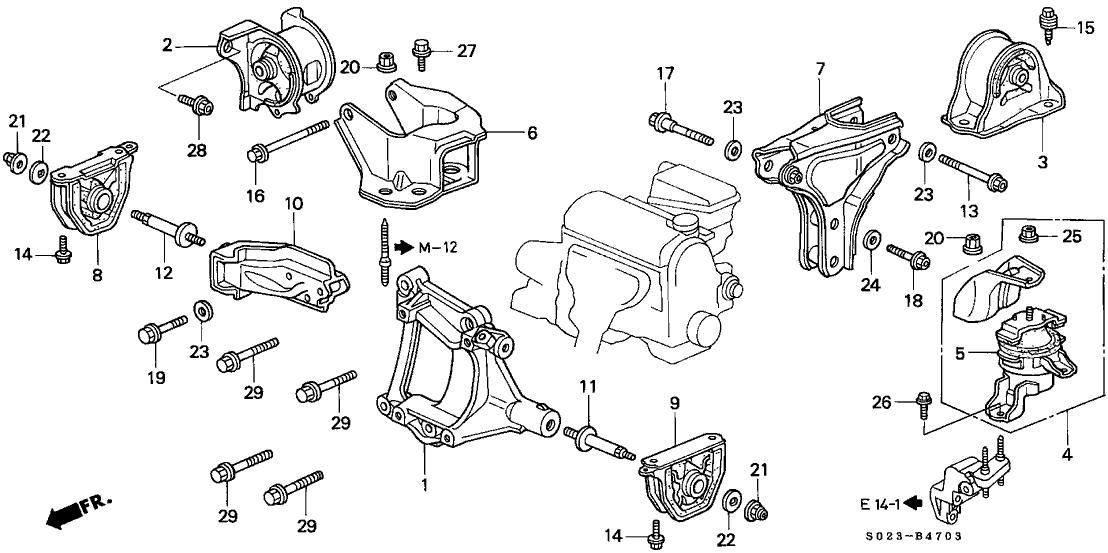 50827-S04-N10 - Genuine Honda Bracket, RR. Engine Mounting