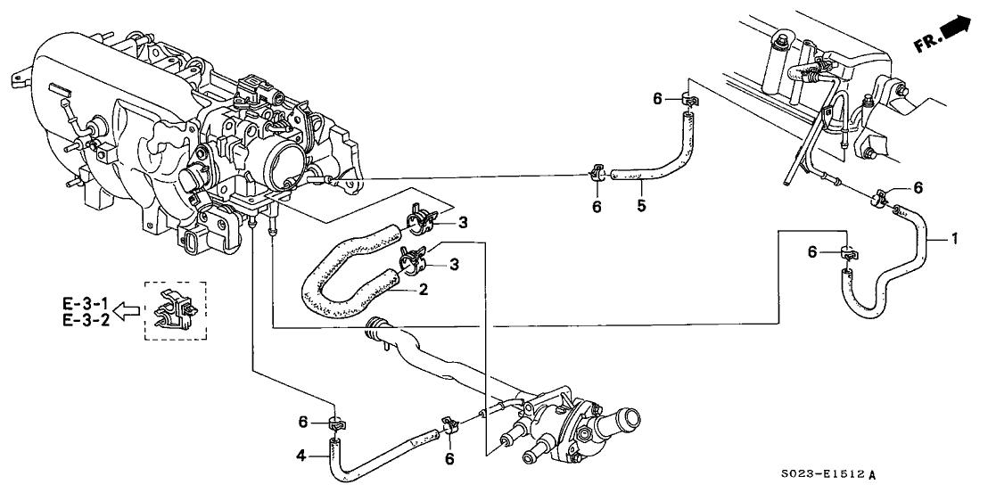 2000 honda civic ex engine diagram 2000 honda civic 2 door ex ka 4at water hose  vtec   2000 honda civic 2 door ex ka 4at water