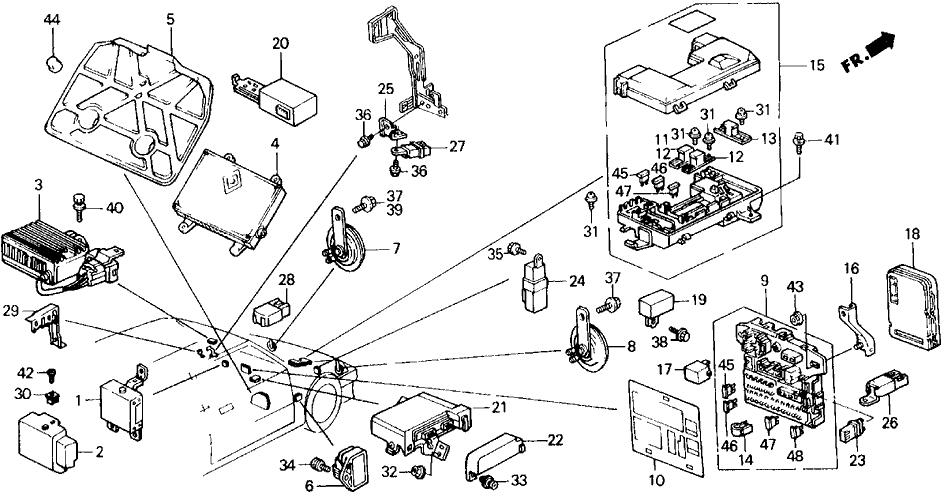 1989 Honda Civic 5 Door DX KL 5MT Fuse Box - Relay - Horn on 89 crx gauge diagram, 89 crx engine, 91 crx fuse box diagram, 89 mustang fuse box diagram, 89 crx fog lights, 89 crx fuel filter, 89 crx fuel pump relay,