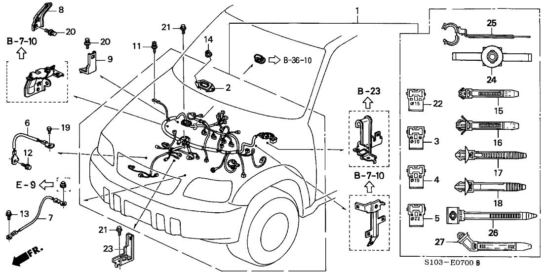 1999 honda cr v 5 door lx (4wd) ka 5mt engine wire harness