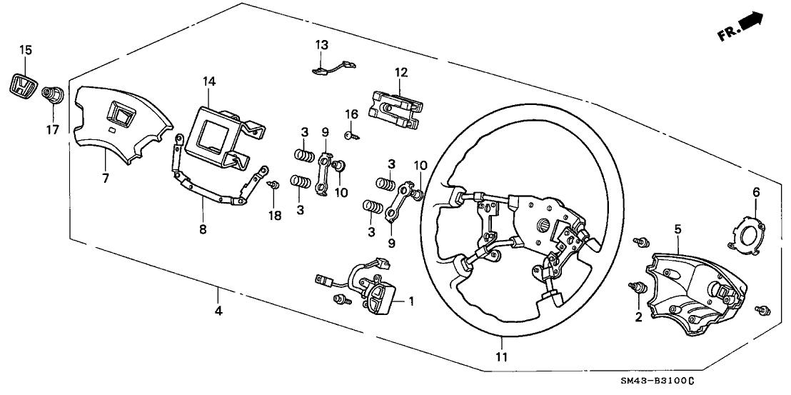 1991 Honda Accord 4 Door Se Kl 4at Steering Wheel