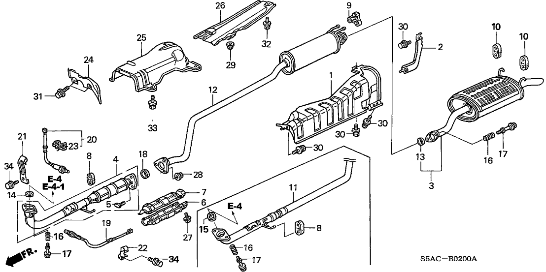 Honda Civic 2005 Honda Civic Exhaust System Diagram