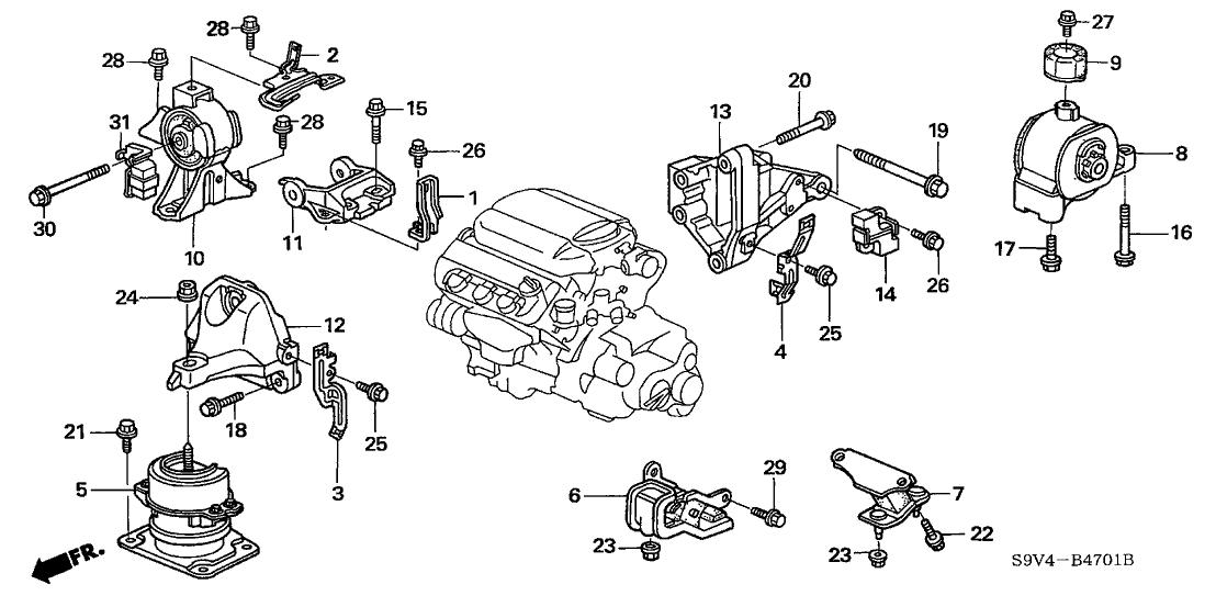 50800-S3V-A82 - Genuine Honda Rubber, FR. Engine Mounting