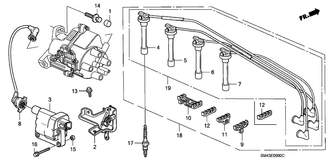 1993 honda accord 4 door ex ka 4at high tension cord - spark plug