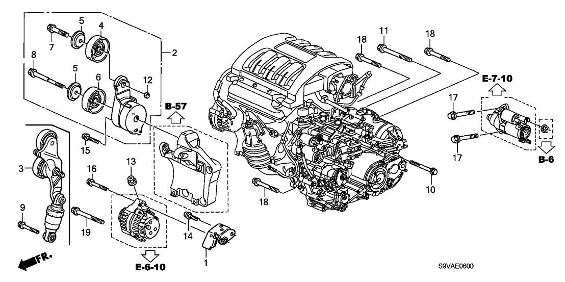 2008 honda pilot 5 door exl (4wd) ka 5at alternator bracket 2005 Honda Pilot Engine Diagram