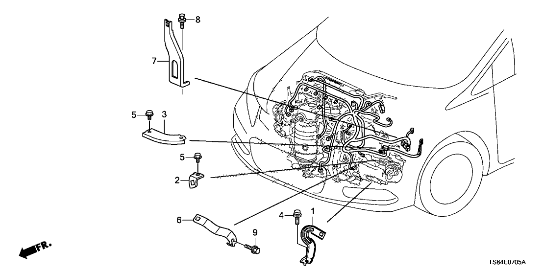 2012 honda civic 2 door lx ka 5mt engine wire harness stay (1 8l)