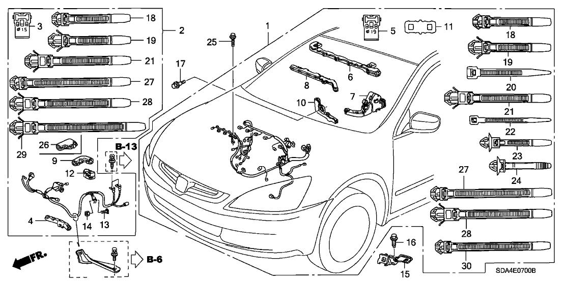 2005 honda accord 4 door exl (navigation) kl 5at engine wire harness (l4