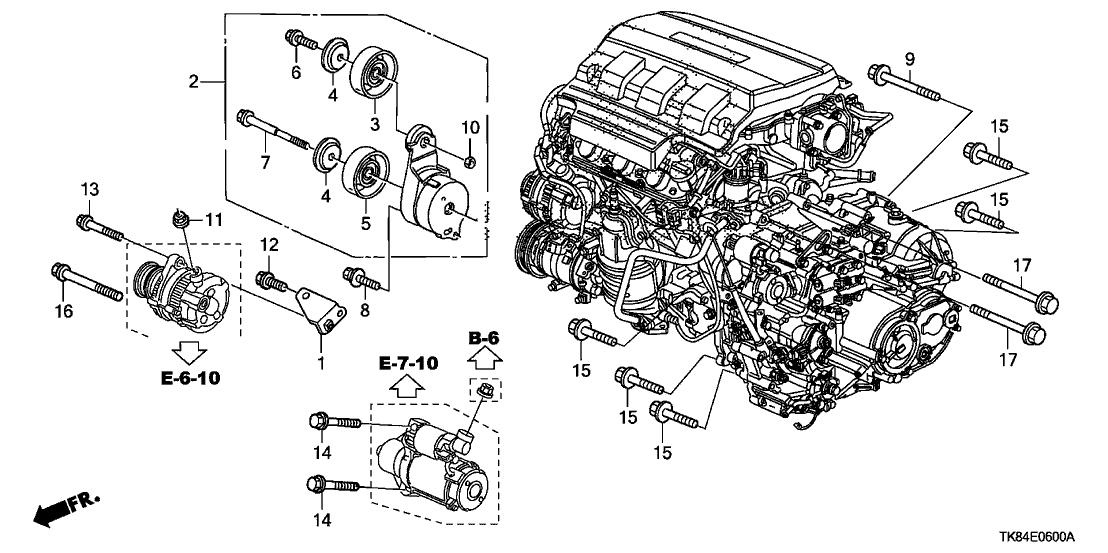 2012 honda odyssey 5 door ex ka 5at alternator bracket tensioner 2012 Honda Odyssey Wiring Diagram