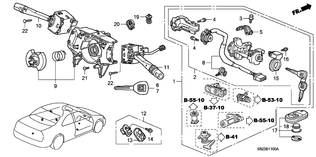 Honda A12 Service >> 06350 S82 A12 Genuine Honda Cylinder Set Key Service