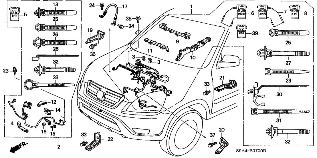 [SCHEMATICS_4UK]  2004 Honda CR-V 5 Door EX (4WD) KA 5MT Engine Wire Harness | 2004 Honda Cr V Headlight Wiring |  | Genuine Honda Parts