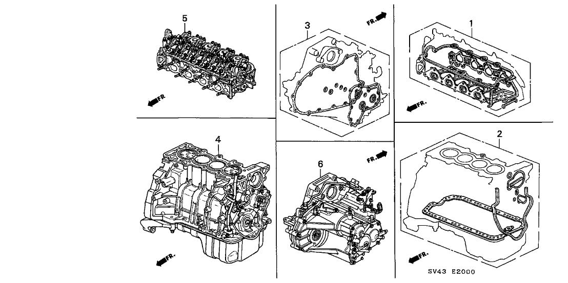 1994 Honda Accord 4 Door Ex Ka 5mt Gasket Kit