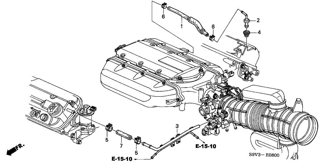 2004 honda pilot 5 door lx kl 5at breather tube