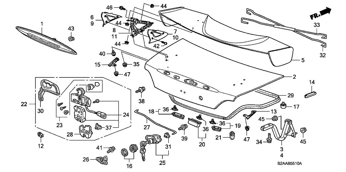 2009 honda s2000 2 door cr ka 6mt trunk lid honda parts now Trunk Wiring Diagram Honda 2009 trunk won& 39;t close all the time honda