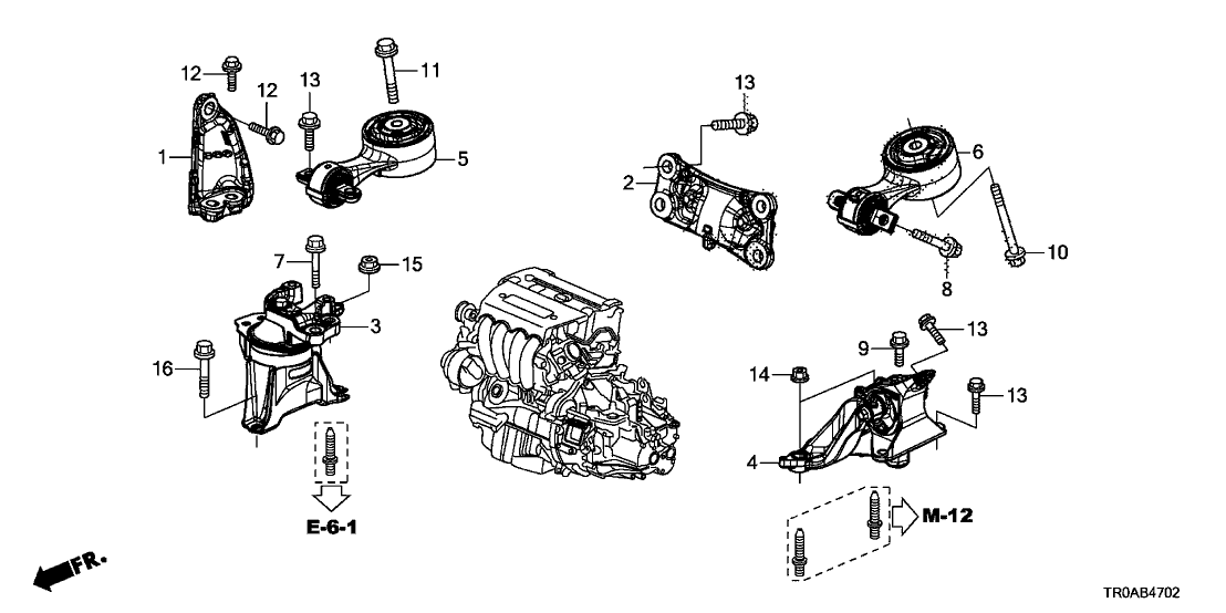 2013 honda civic 4 door si ka 6mt engine mounts (2 4l) 2013 Honda Insight Engine Diagram fuse box location and diagrams honda