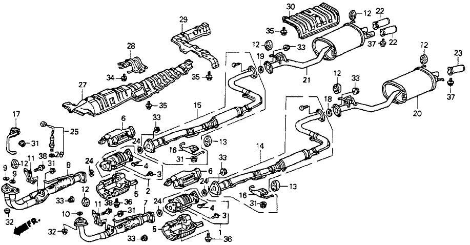 1991 Honda Accord 2 Door Ex Ka 4at Exhaust System