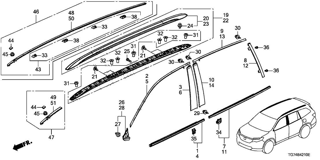 74306 Tg7 315 Genuine Honda Kit Roof Molding Assy