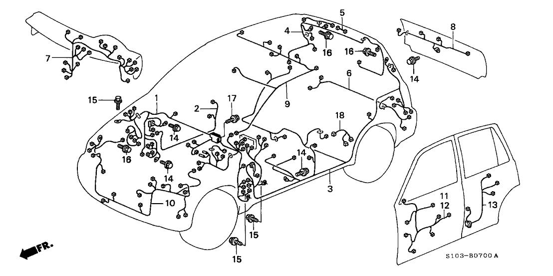 1999 honda cr v 5 door lx (4wd) kl 4at wire harness1999 Honda Cr V Wire Harness #10