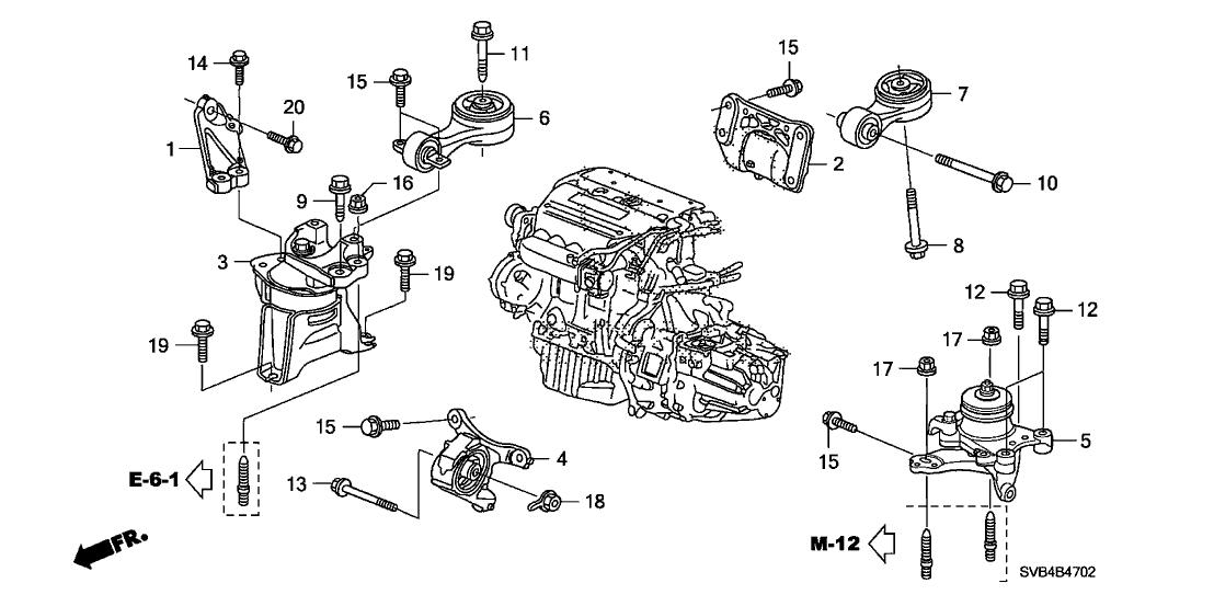 50830 svb a01 genuine honda mounting, fr engine2011 honda civic 2 door si (hpt) ka 6mt engine mounts (2 0l