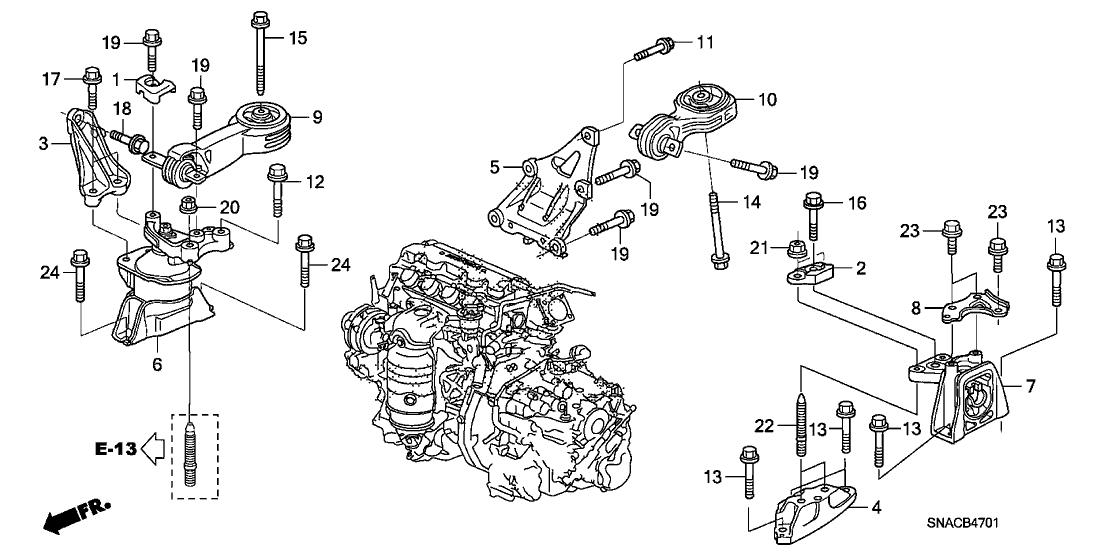 50820-sna-033 - genuine honda rubber assy., engine side mounting 2008 honda civic engine diagram 2001 honda accord engine diagram honda parts now