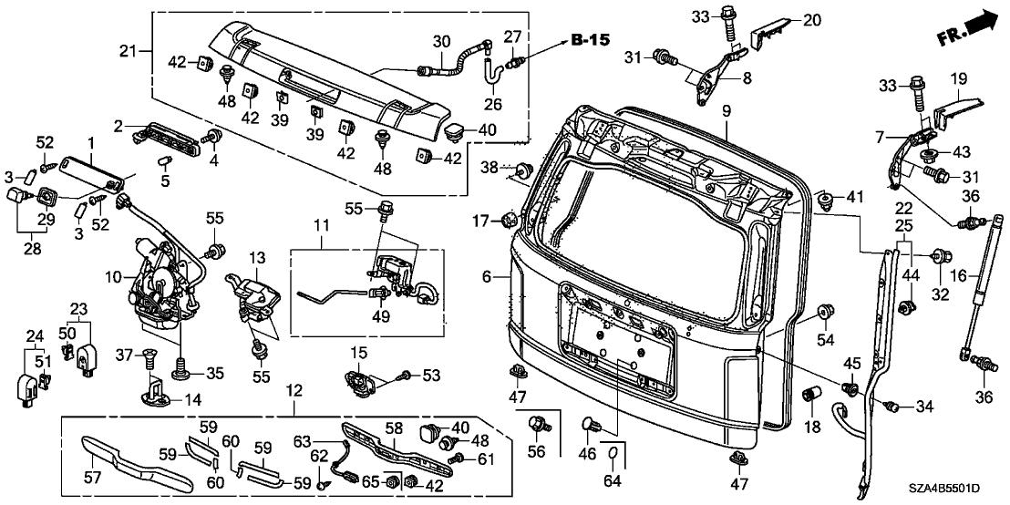 74829S9A000  Genuine    Honda    Stopper  Tailgate