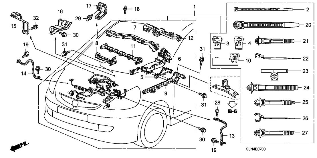 2007 Honda Fit 5 Door BASE KA 5MT Engine Wire Harness