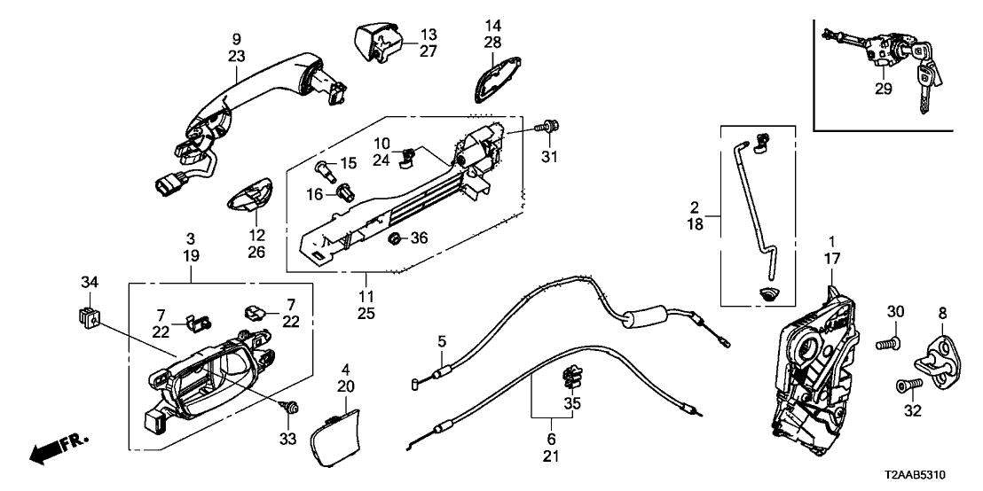 Honda A12 Service >> 72185-T2A-A01 - Genuine Honda Cylinder,L Door