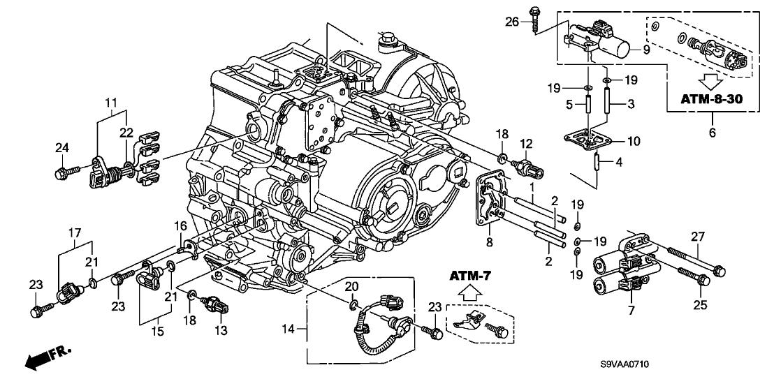28020 pvg 305 genuine honda solenoid set, lock up 2005 Honda Pilot Engine Diagram 2008 honda pilot 5 door exl (4wd navigation) ka 5at at sensor solenoid