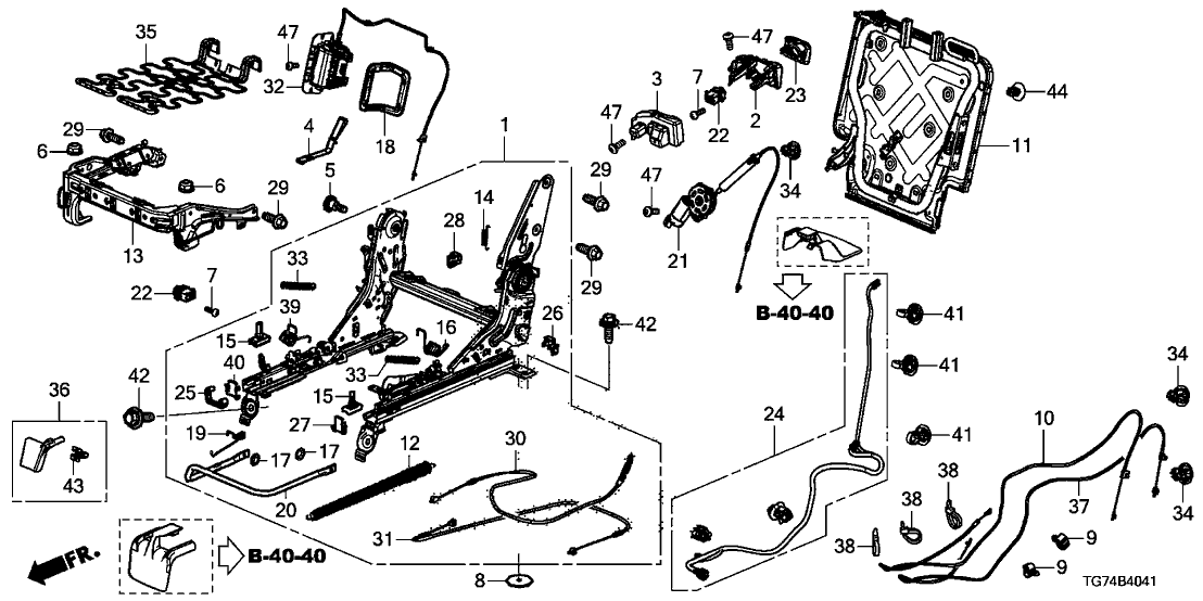 81310-TG7-A41 - Genuine Honda Device, R. Middle Seat