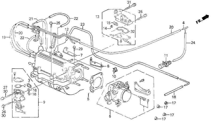 1990 honda prelude 2 door 2 05si (4ws) kl 5mt throttle body