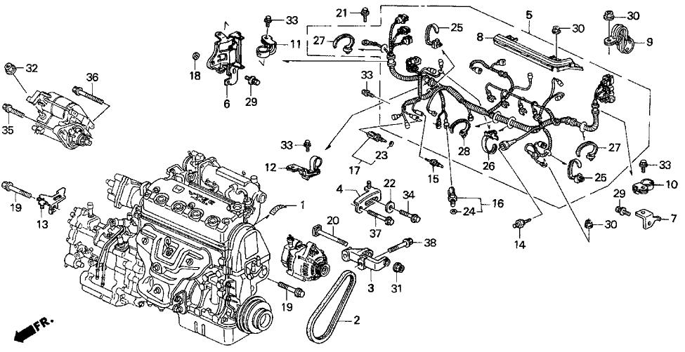 honda del sol wiring 32115 p01 000 genuine honda stay  engine wire harness clamp  32115 p01 000 genuine honda stay