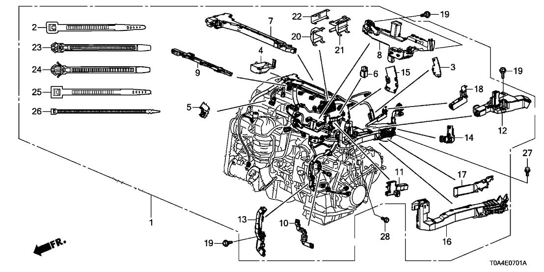 2016 Honda CR-V 5 Door EX (2WD) KA CVT Engine Wire Harness on