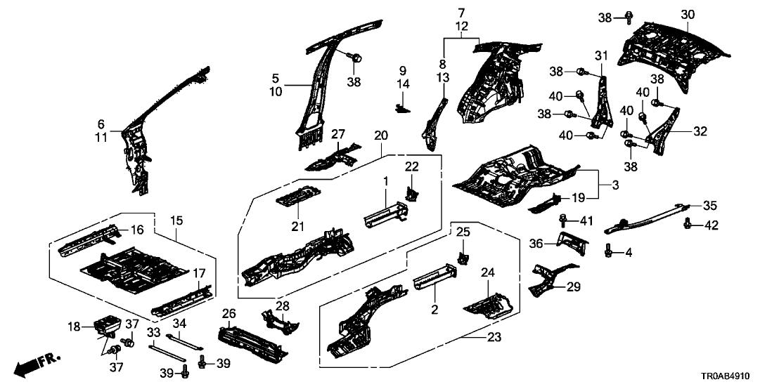 Genuine Honda Stiffener R Rear Floor Side 65615-TR0-A00ZZ