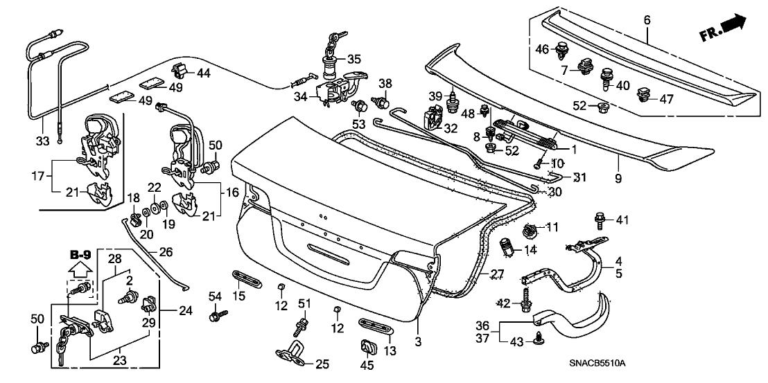 74851-SNA-A12 - Genuine Honda Lock, Trunk (Manual+Handle ...