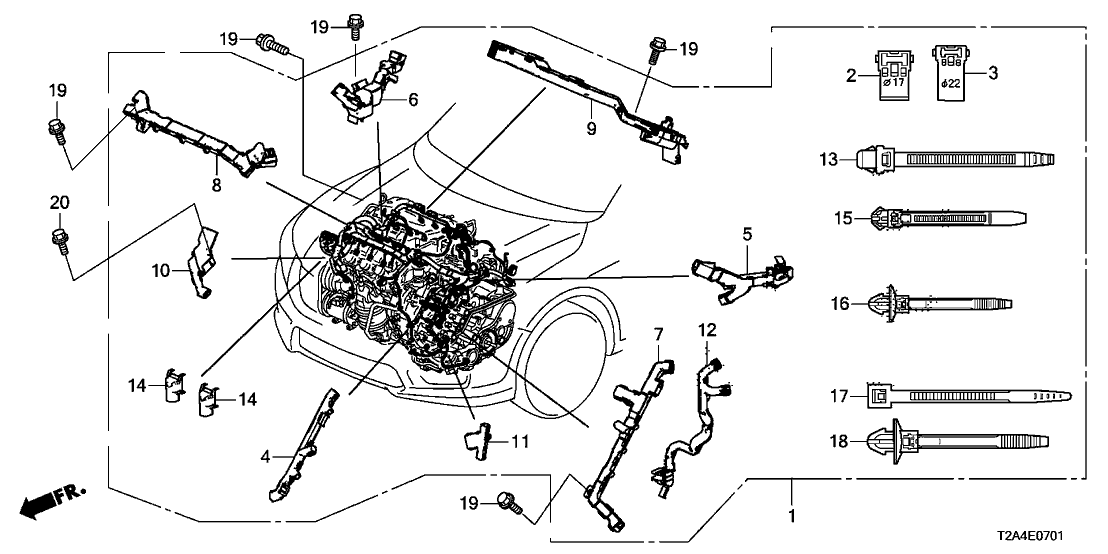 2014 honda accord 4 door exl-v6 (navigation) kl 6at engine wire harness