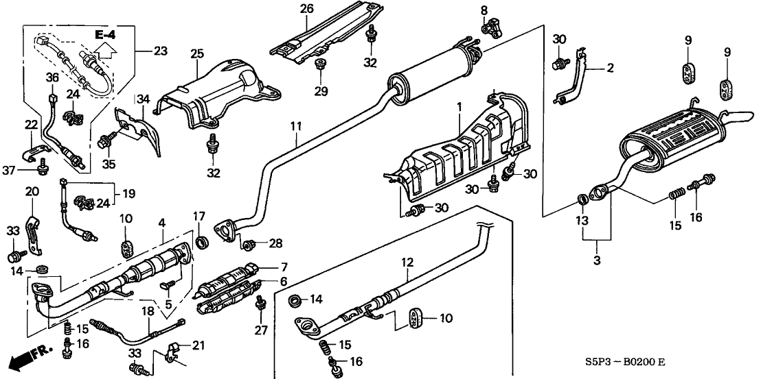 honda 06365 pmp a00 toyota camry exhaust system diagram honda civic 2002 replacement exhaust kit