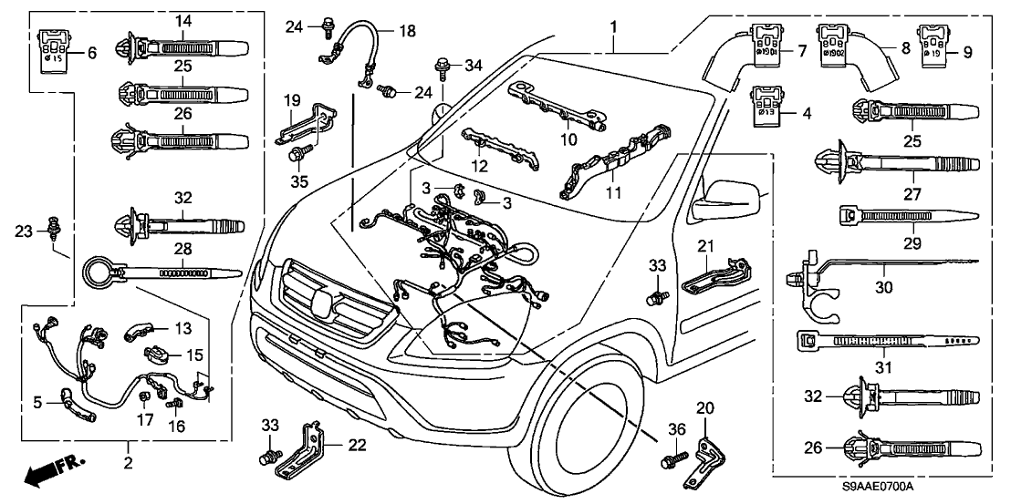 32124-PNA-010 - Genuine Honda Holder D, Engine Harness