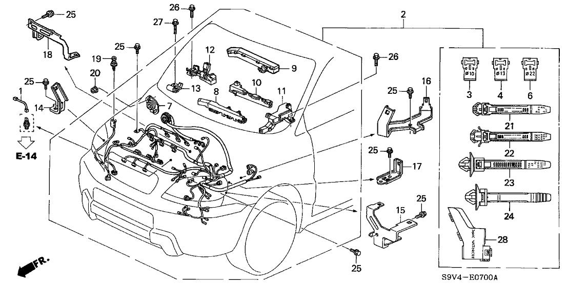 Strange 32744 Pgk A02 Genuine Honda Stay D Engine Wire Harness Wiring Database Xlexigelartorg