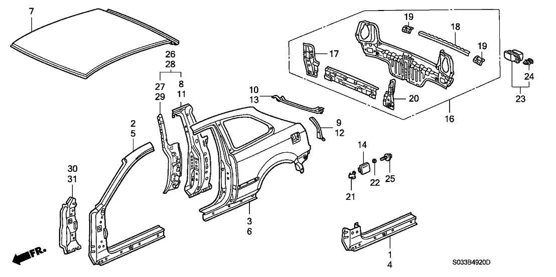 1997 Honda Civic 3 Door CX KA 5MT Outer Panel (Plasma ...