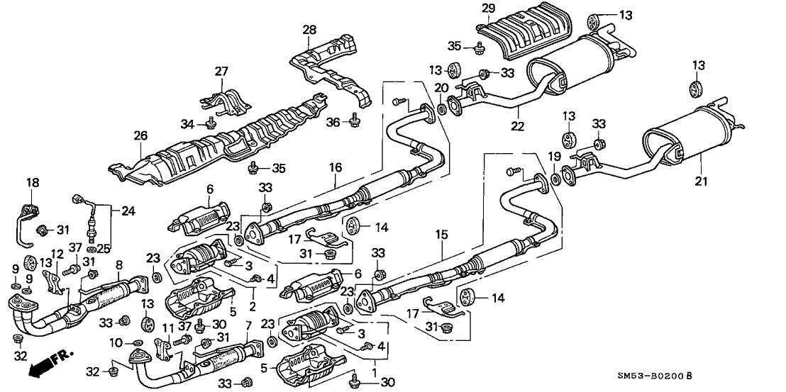 1991 honda accord 5 door lx ka 5mt exhaust system