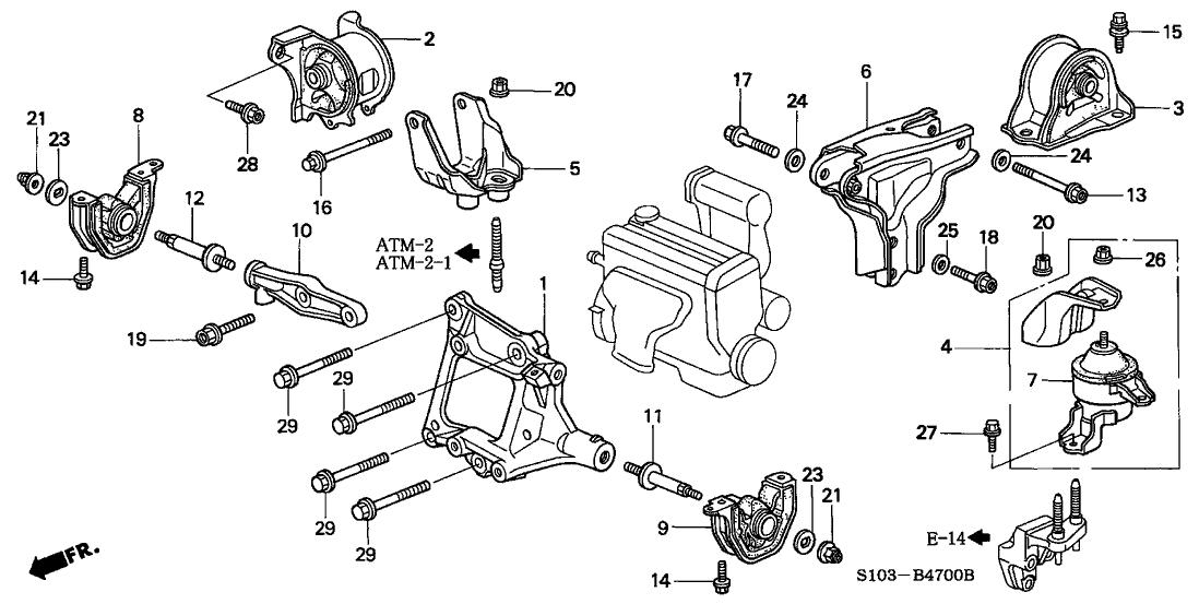 50820 S10 004 Genuine Honda Rubber Assy Engine Side