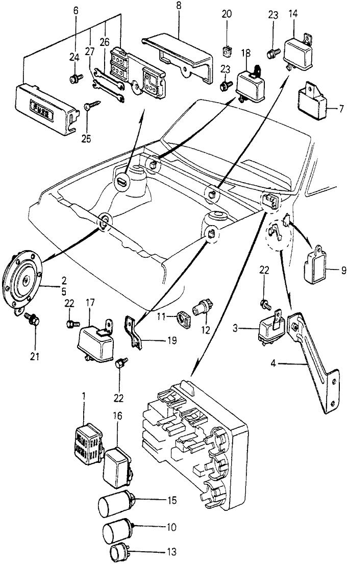 1981 Honda Prelude 2 Door ** KH 5MT Fuse Box - Relay - Horn on