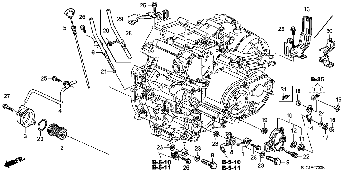 2006 honda ridgeline 4 door rt ka 5at at oil level gauge - position sensor