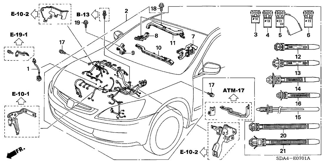 2003 Honda Accord 4 Door EX (V6) KA 5AT Engine Wire Harness (V6) on